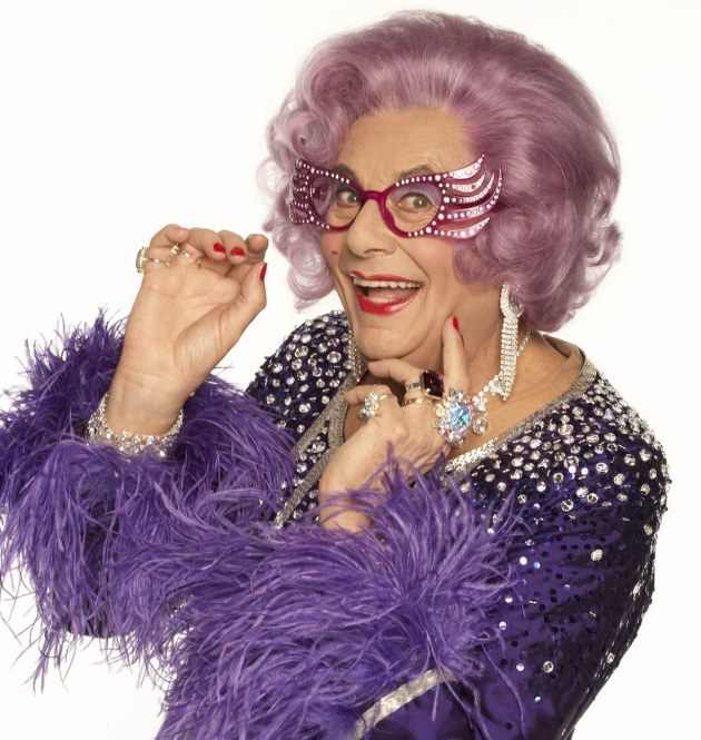 Dame Edna Everage, female impersonator and megastar.